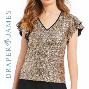 NWT Draper James Gold Sequin Top Size 2